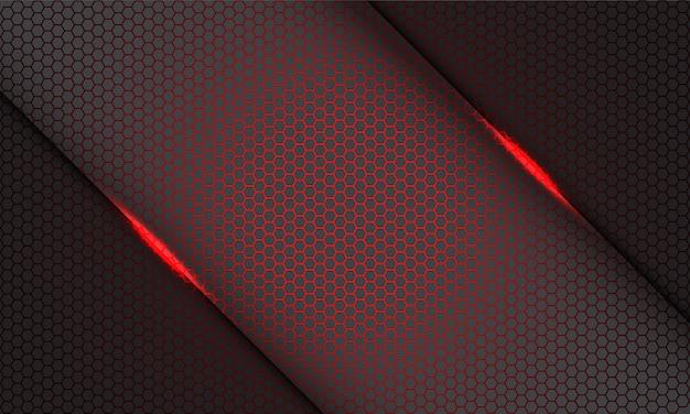 灰色の現代の未来的な技術の背景に灰色の抽象的な赤い六角形のメッシュパターンライトスラッシュ Premiumベクター