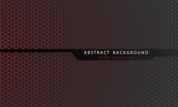 黒い線のポリゴンとテキストの未来的な背景を持つ灰色の抽象的な赤い六角形のメッシュパターン。 Premiumベクター