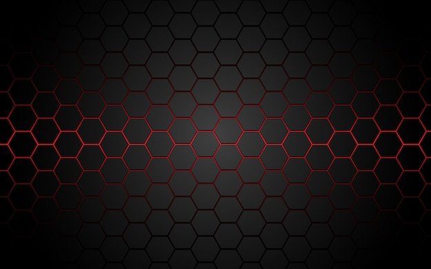 Abstract red light hexagon line in grey modern luxury futuristic. Premium Vector