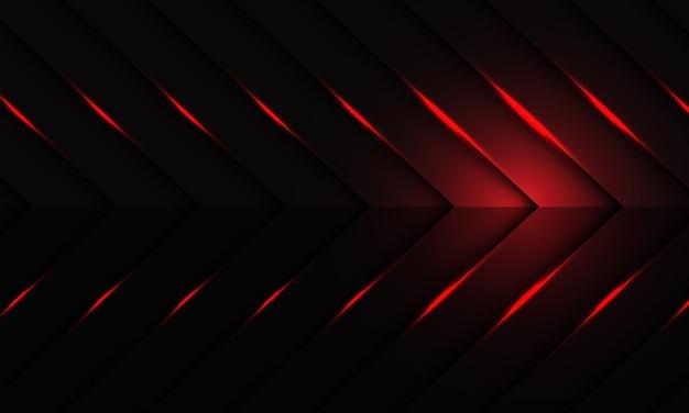 ダークメタリック矢印パターンデザインモダンで未来的な背景に抽象的な赤い光 Premiumベクター