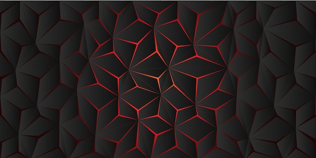 Abstract red light polygon crack on dark grey background texture. Premium Vector