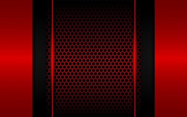 Abstract red light with hexagon background Premium Vector