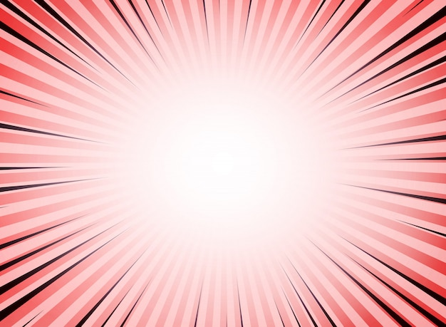 Abstract red living coral color sun burst comic background. Premium Vector