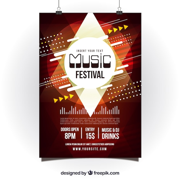 Abstract red poster design for music party Free Vector