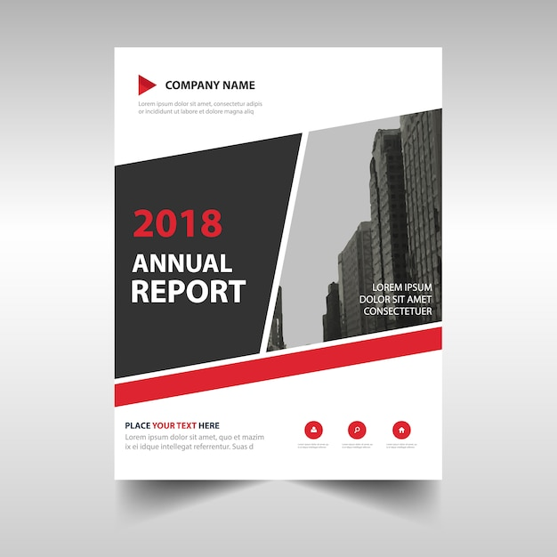 Abstract Red Professional Annual Report Template Vector  Free