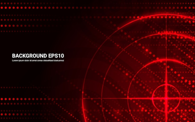 Abstract red target, shooting range on black background. Premium Vector