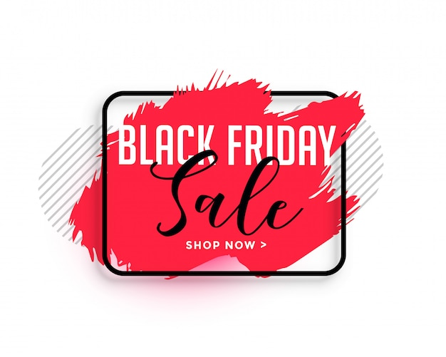 Abstract red watercolor black friday sale banner Free Vector