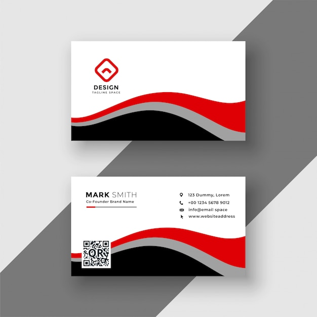 Abstract red wavy business card design Free Vector