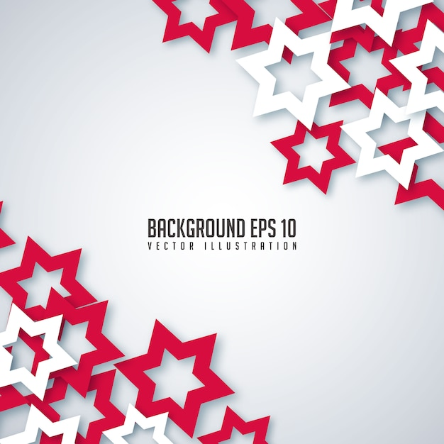 Abstract red and white paper stars background. Premium Vector