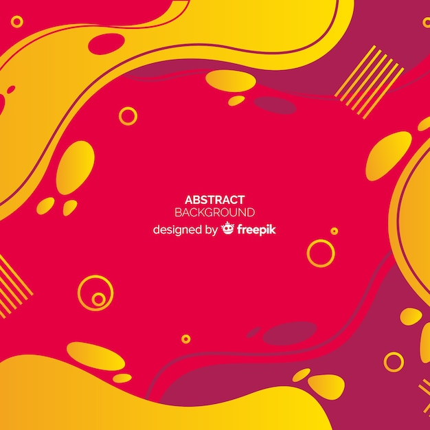 Abstract red and yellow background in memphis style Free Vector