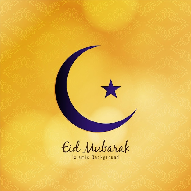 Abstract religious eid mubarak festival yellow Free Vector