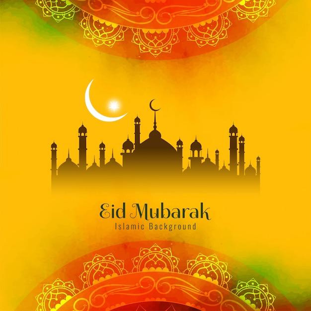 Abstract religious eid mubarak islamic Free Vector