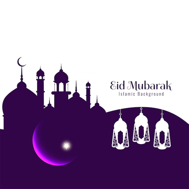 Abstract religious festival eid mubarak background Free Vector