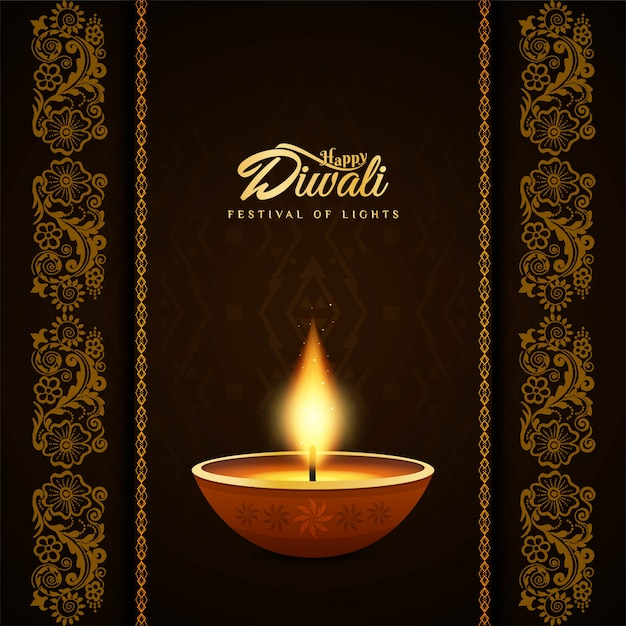 Abstract religious happy diwali decorative background Free Vector