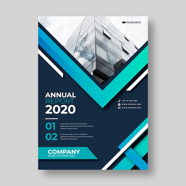 Abstract report template with photo Free Vector