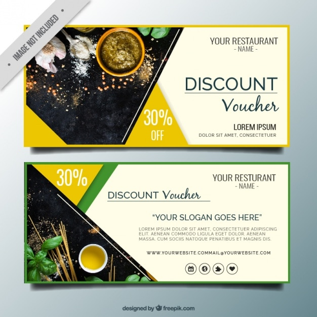 Abstract restaurant discount banners Premium Vector