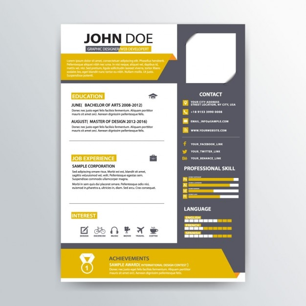 abstract resume template vector