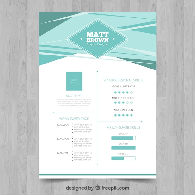 abstract resume template vector free download