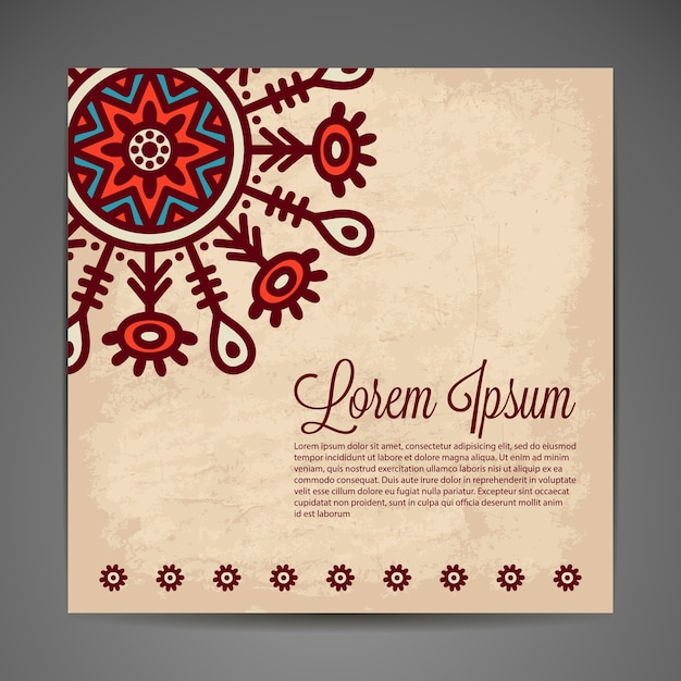 Abstract retro card with space for text and mandala design
