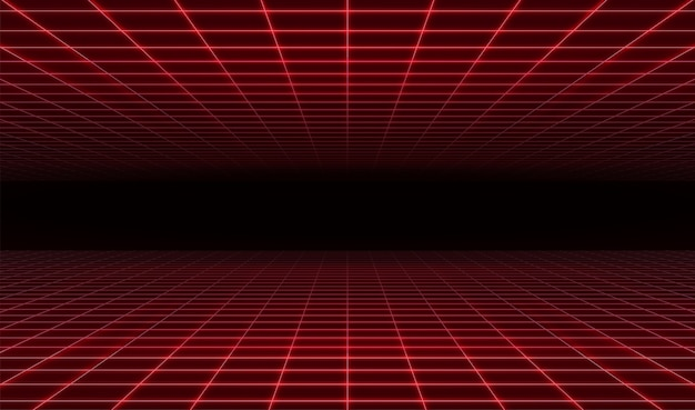 Abstract retro futuristic red laser grid background. Premium Vector