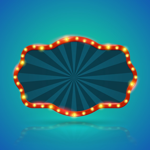 Abstract retro light banner with light bulbs on the contour Premium Vector