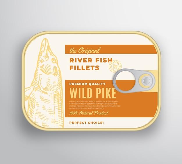 ラベルカバー付きの抽象的な川魚の切り身アルミニウムコンテナー。プレミアム缶詰。 Premiumベクター