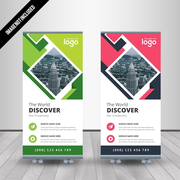 Abstract Roll Up Banner Design Template Vector | Premium Download