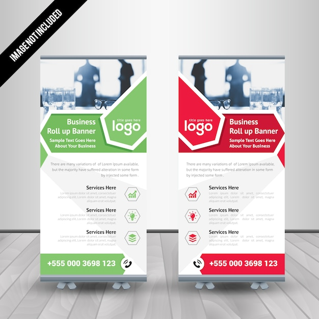 abstract roll up banner design premium vector