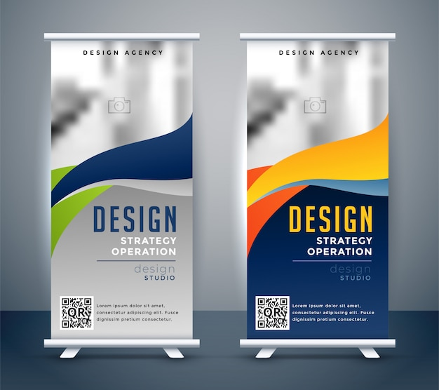 Abstract roll up banner standee design Free Vector