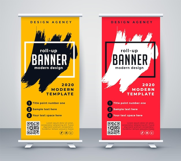 Abstract roll up banner standee template design Free Vector
