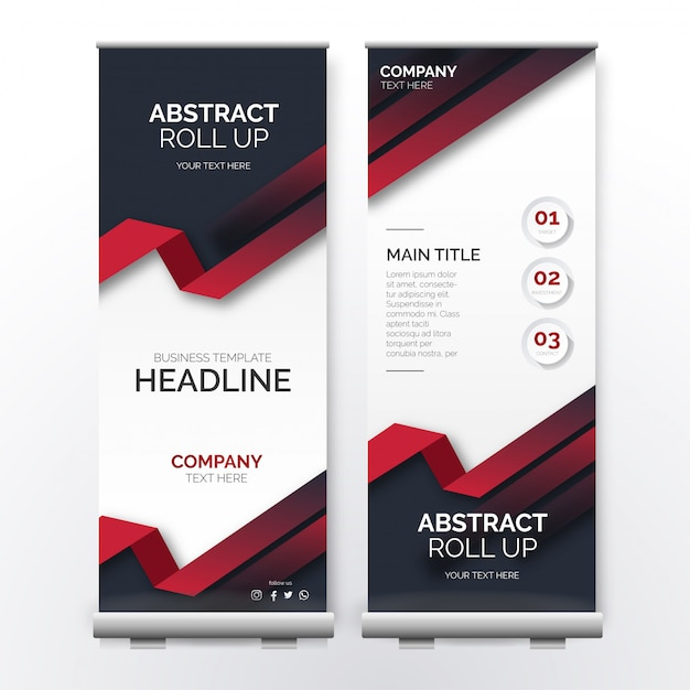 Abstract roll up template with red shapes Free Vector