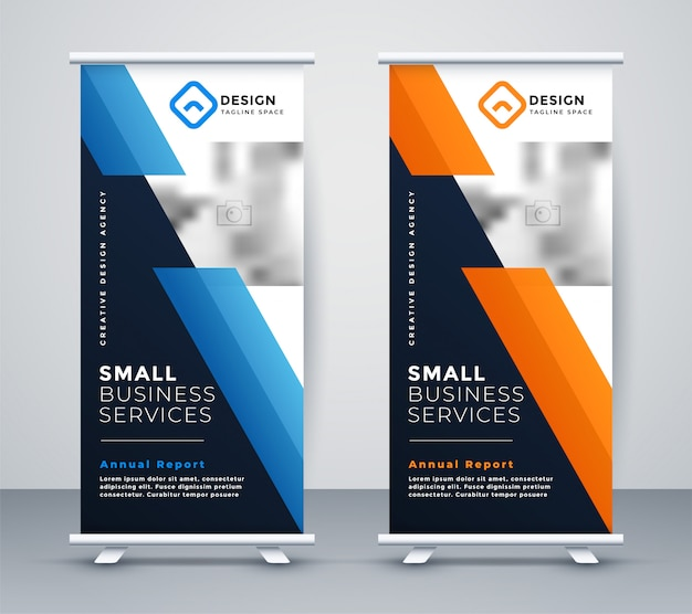 Abstract rollup banner design in geometric style Free Vector