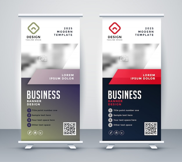 Abstract rollup banner standee for business presentation Free Vector