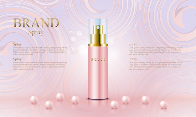 Abstract rose gold template for cosmetic product Premium Vector