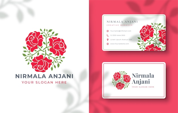 名刺と抽象的なバラのロゴのデザイン Premiumベクター