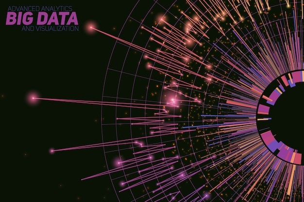 Abstract round big data visualization. futuristic infographics design. visual information complexity. intricate data threads graphic. social network or business analytics representation. Free Vector