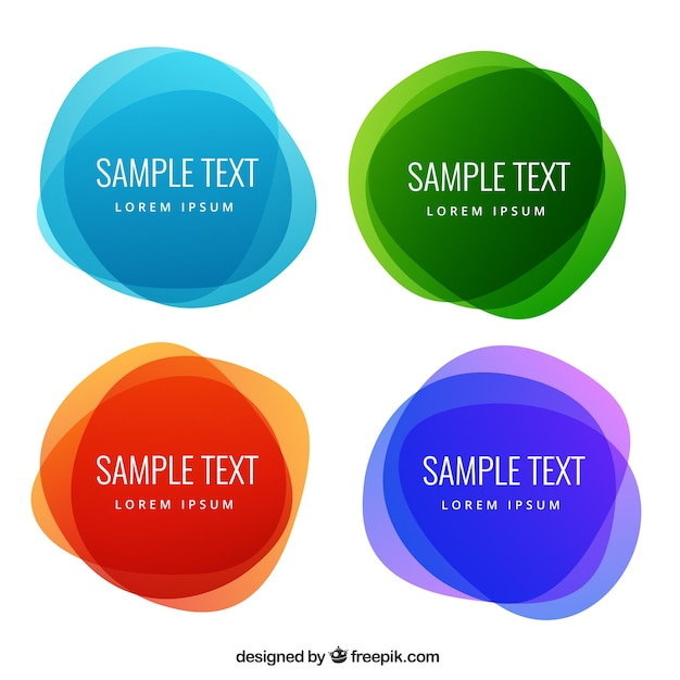 Abstract Round Labels In Colorful Style Vector Premium