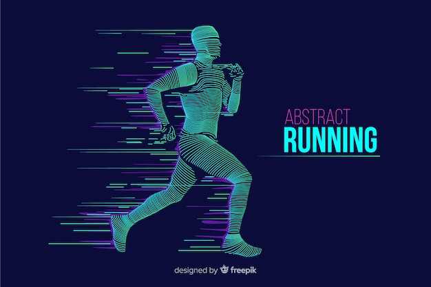 Abstract runner silhouette  flat design Free Vector