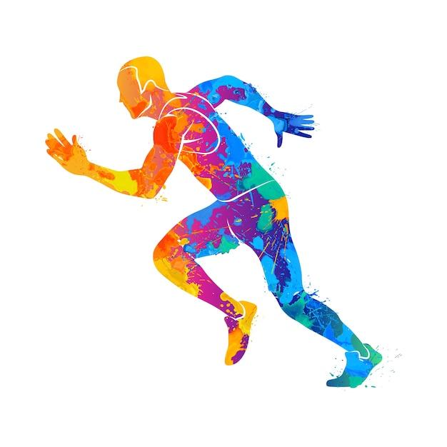 Абстрактные бегунов на короткие дистанции спринтер от всплеск акварелей. иллюстрация красок. Premium векторы