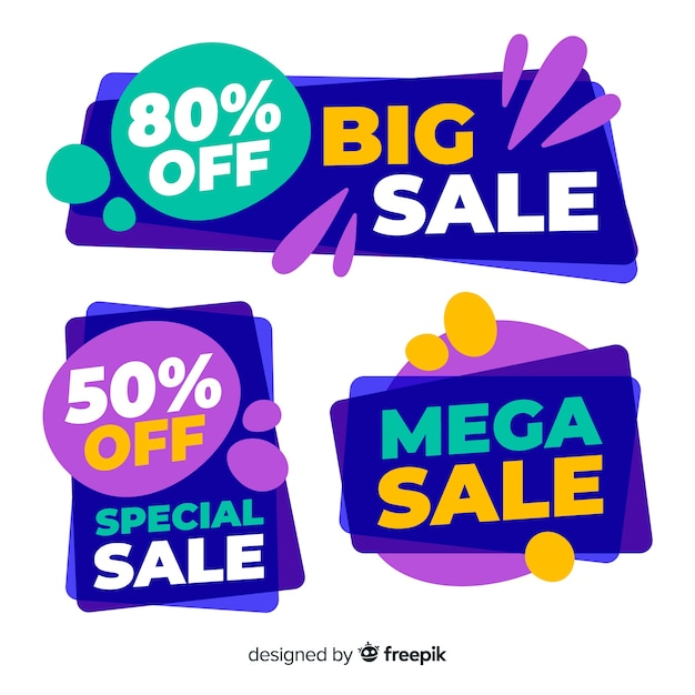 Abstract sale banner collection Free Vector