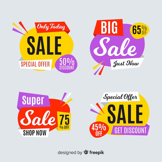 Abstract sale banner template collection Free Vector