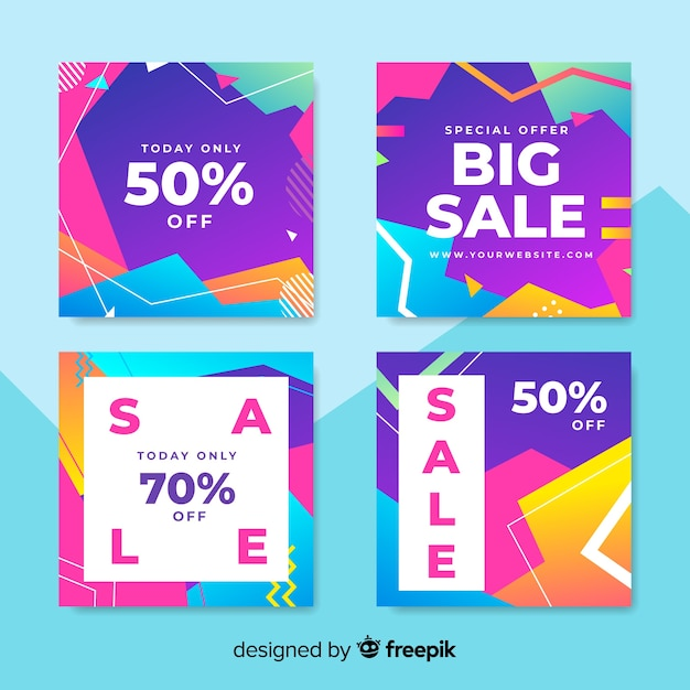 Abstract sale banners collection Free Vector