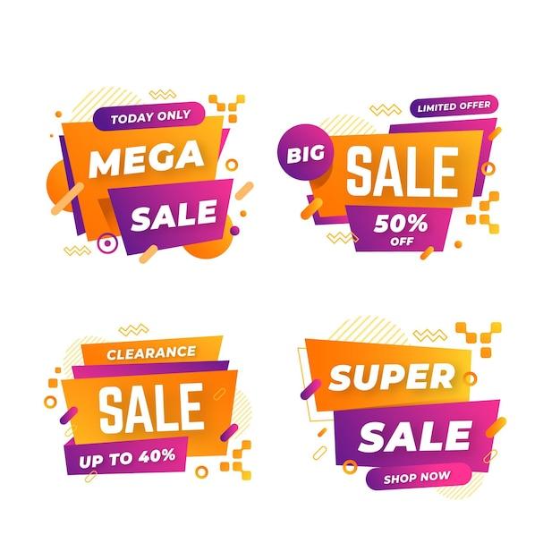Collezione di banner vendita astratta Vettore gratuito