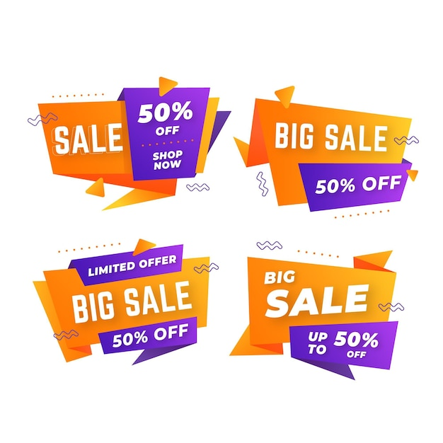 Abstract sale banners pack Free Vector