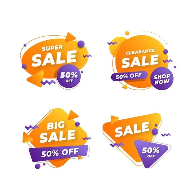 Set di banner di vendita astratta Vettore gratuito
