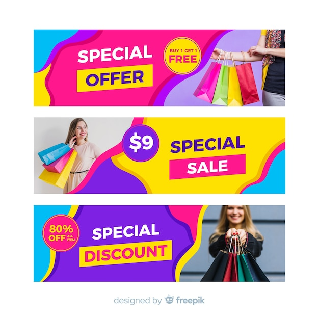 Abstract sale banners with photo Free Vector