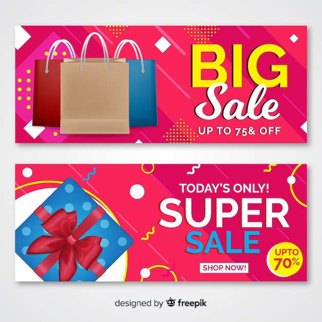 Abstract sale banners with realistic elements Free Vector