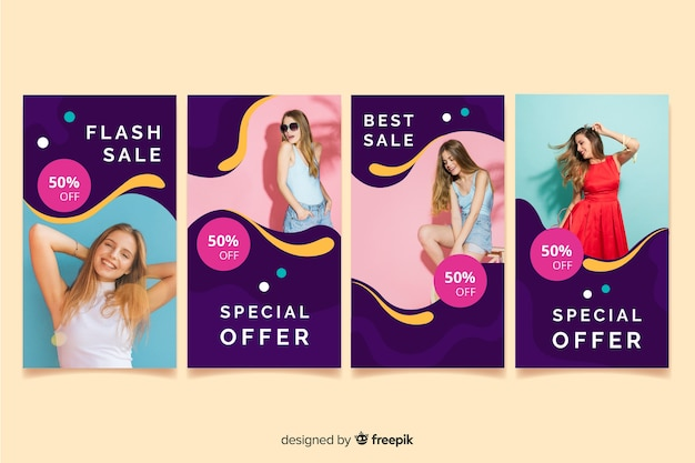 Abstract sale colorful instagram stories with image Free Vector