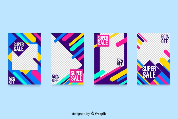 Abstract sale colorful instagram stories Free Vector