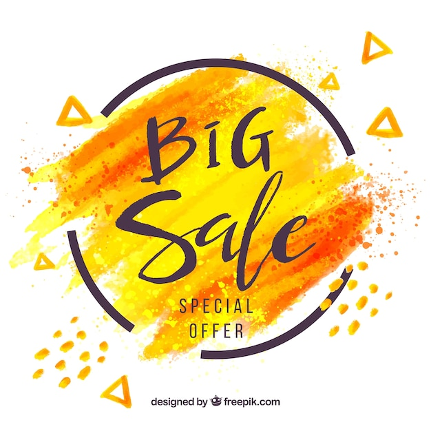 Abstract sale composition with watercolor style Free Vector
